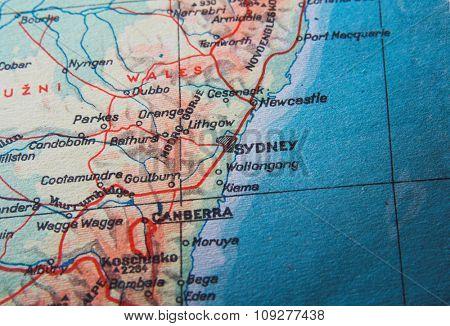 Map of Australia. Capital city of Australia - Sydney