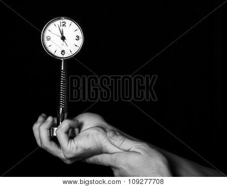 Hand hold watch. Time and deadline concept