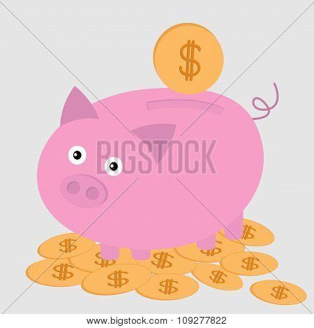 Piggy Bank On The Dollar Coins. Card