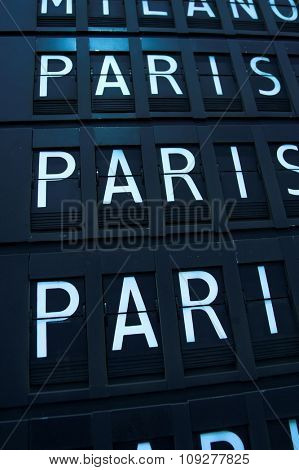 Airport departures and arrivals. Flight info board on airport. Paris concept