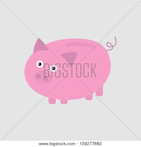 Pink Piggy Bank. Card Flat Design