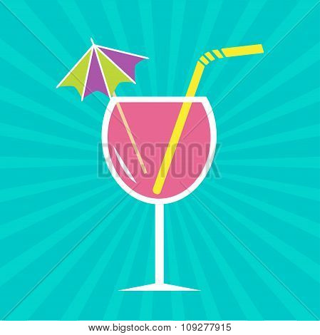 Pink Cocktail Glass With Drinking Straw And Umbrella. Sunburst B