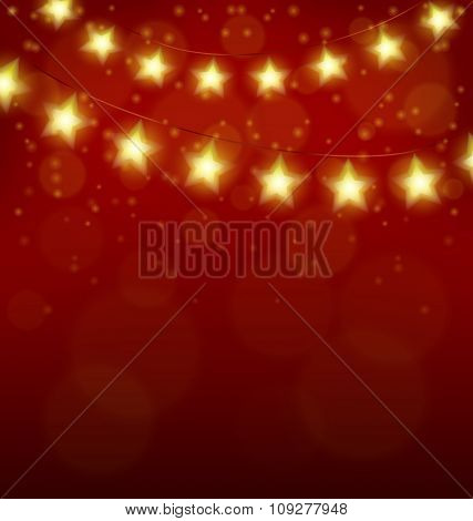 Christmas lights in form of stars on red