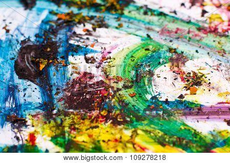 Cmyk print colors splashes. Vibrant paint on paper