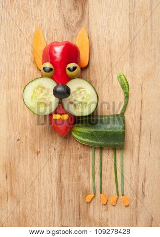 Funny Vegetable Cat On Wooden Background