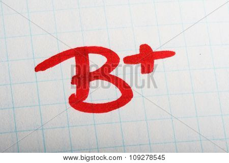 School exam grade. B mark on paper - very good