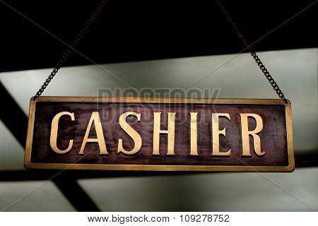 cashier label hanging