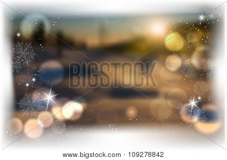 Winter Blurred Background With Bokeh, Shines And Snowflakes