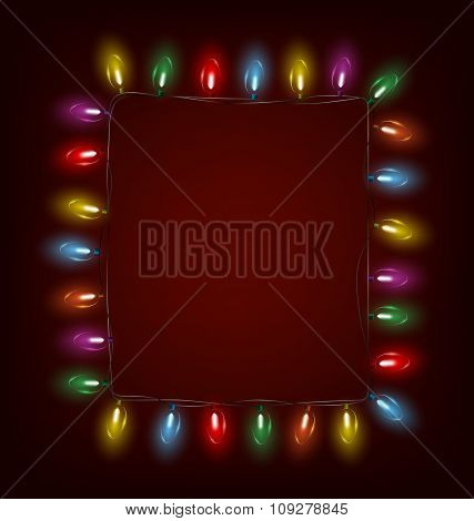 led Christmas lights like frame on red