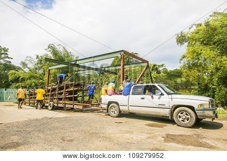 Transportation Of Rafts On The Martha Brae Rive In Jamaica.