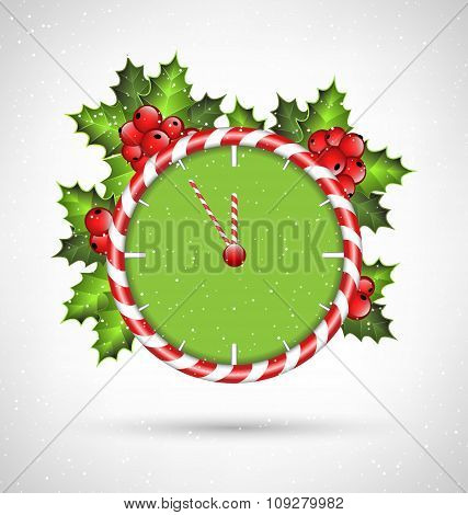 Candy cane clock with holly