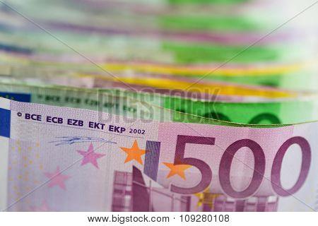 Euro money. Paper bills with shallow DOF