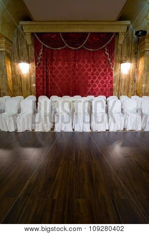 Seats at salon. Classic music concert  event