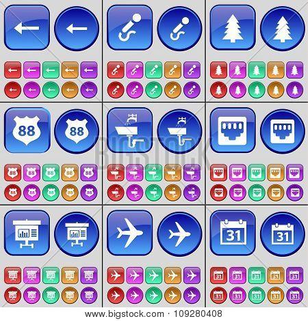 Arrow Left, Microphone, Fir Tree, Badge, Tap, Lan Socket, Diagram, Airplane, Calendar. A Large Set