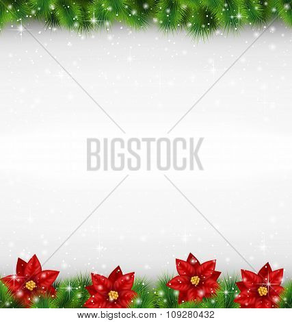 pine with poinsettia on grayscale