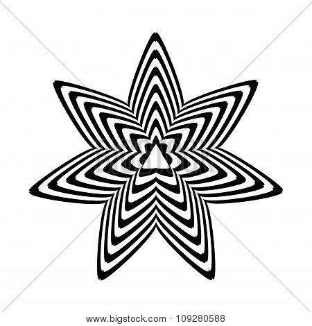 Geometric optical illusion black and white star on a white background. Vector illustration