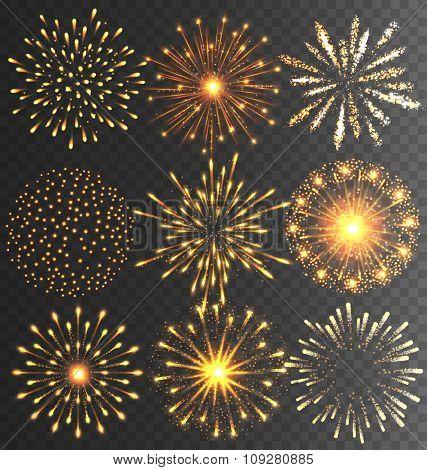 Golden Festive Firework Salute Burst on Black