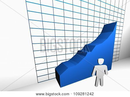 Manager success statistic concept. 3D rendered