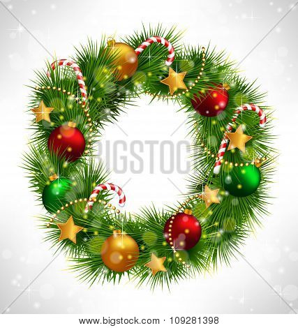 Christmas wreath with adornments on grayscale