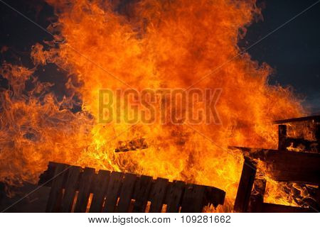 Burning wood fire with big flames