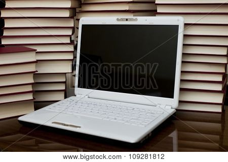 Student / teacher education concept, with laptop and books