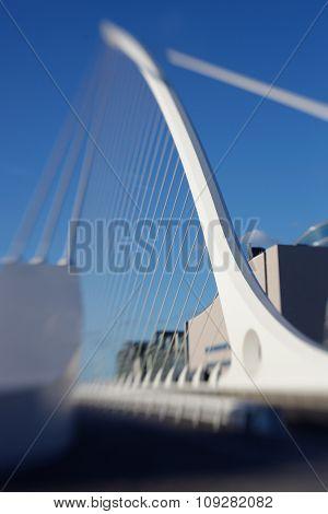Samuel Beckett bridge in Dublin, Ireland. Selective focus with tilt and shift lens, not edited