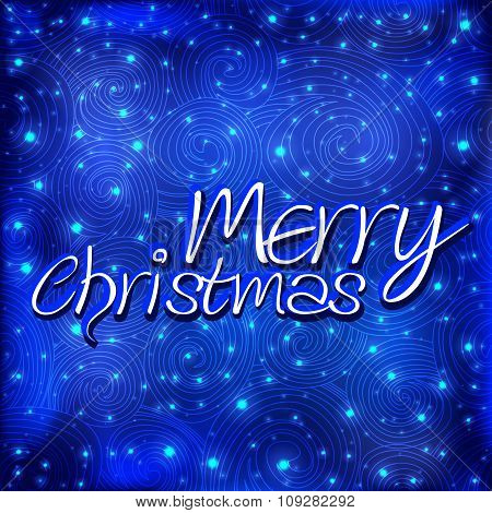 Merry Christmas message and blue background with snowflakes.