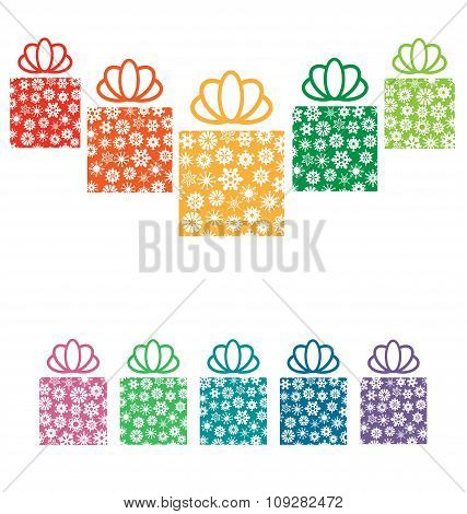 gift boxes with snowflakes on white