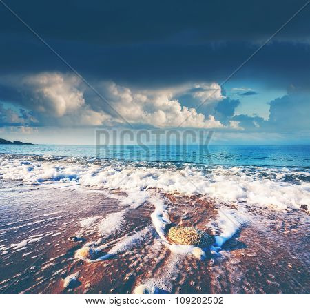Fantastic view azure sea glowing by sunlight. Dramatic and picturesque scene. Location Makauda, Sciacca. Sicilia, southern Italy. Mediterranean sea, Europe. Beauty world. Instagram blue toning effect.