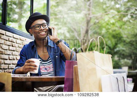 Man Shopping Outdoor Talking Mobile Phone Concept