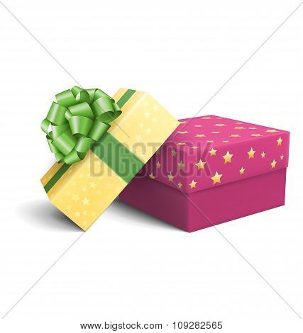 Yellow and Violet Pink Celebration Gift Boxes with Green Bow Iso