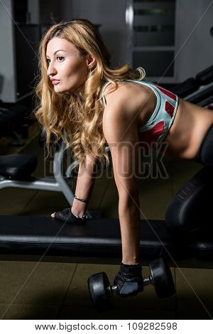 Young Sexy Woman In The Fitness Hall In Training With Dumbbells