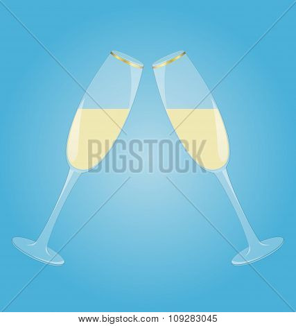 Two glasses with sparkling wine mirrored on blue