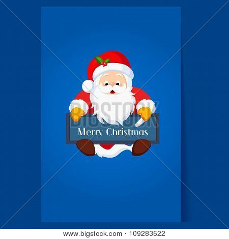 Christmas Santa Claus holding a Chalkboard. Vector