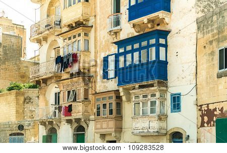 Typical vintage balcony in Malta