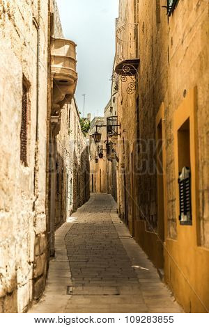 traditional narrow silent street in Mdina. Malta