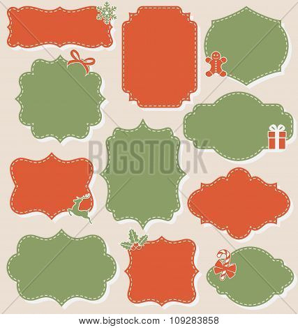 Set of Christmas Vintage Labels Frames Collection Isolated on Be