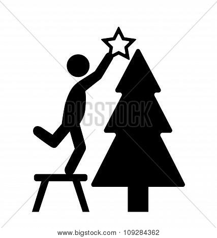 Man with Christmas Tree Decoration Flat Black Pictogram Icon Iso