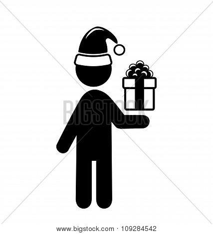 Christmas Shopping Man with Gift Box Flat Black Pictogram Icon I