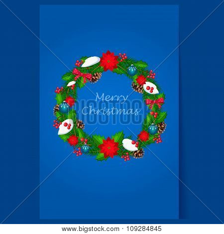 Christmas Wreath with Berries and Decorations. Holiday