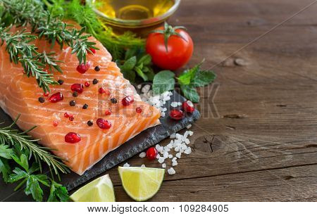 Salmon With Vegetables, Olive Oil And Herbs