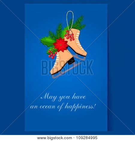 Christmas Skates with Fir, Berries and Poinsettia. Holiday Vector