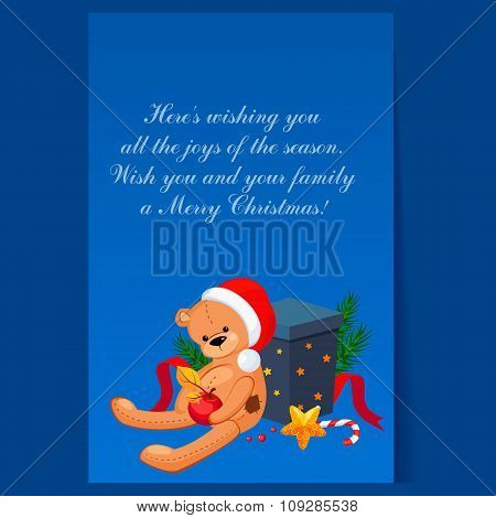 Cute Teddy Bear in a Christmas Hat Sitting near Gift. Holiday Vector