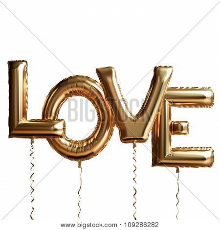Gold Love Isolated On White Background