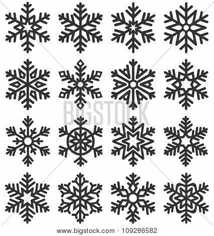 Black Flat Simple Traditional Classic Snowflakes Icons Isolated
