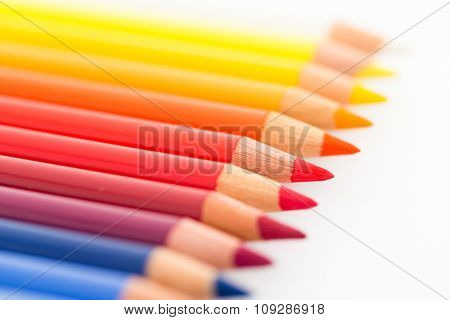 Group of Colour pencil isolated on white