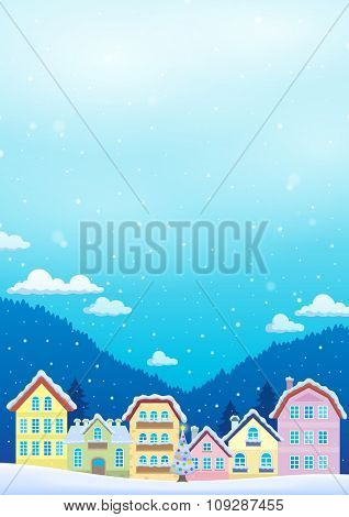 Winter theme with Christmas town image 1 - eps10 vector illustration.