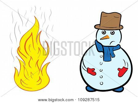 Snowman and fire
