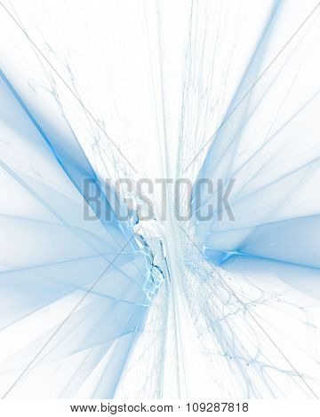 Abstract blue background. Computer graphics 3d grid perspective composition.