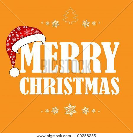 Beautiful Christmas Card With Santa Hat. The Idea For Your Design